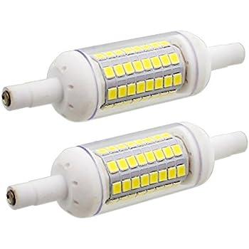 2 unidades, Bombillas LED R7S de 6W 78mm de Cerámica, 64xSMD2835, Blanco Frio