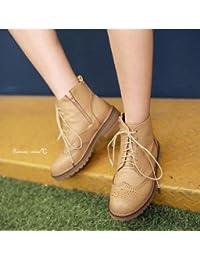 &ZHOU Botas otoño y del invierno botas cortas mujeres adultas 'cargadores de Martin Knight botas a17 , beige velvet , 42