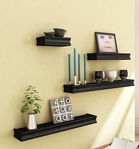Black Wooden Wooden Wall Shelf Set Of Four/ Display Rack Shelf For Home  available at amazon for Rs.995