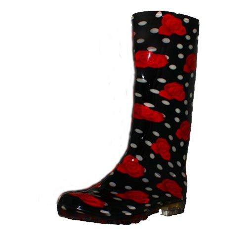 sendit4me Stivali da Pioggia Festival Rosa Rosso Nero Nero