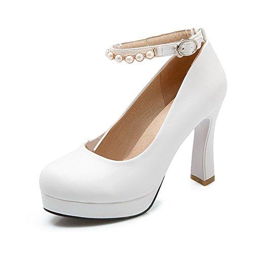 AllhqFashion Damen Schnalle Pu Rund Zehe Hoher Absatz Eingelegt Pumps Schuhe Weiß