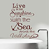 Sticker mural Sunshine Swim Sea devis de salle de bains Wall Art Stickers Stickers Vinyle Home Decor 73x89cm...