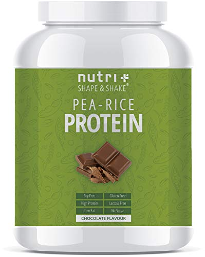 Nutri-Plus Erbsen-Reis-Protein - Veganes Eiweißpulver ohne Soja, Gluten, Laktose und Aspartam - Schokolade 1kg - Hypoallergen - Vegan - Vegane Soja-protein