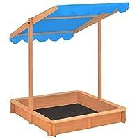 Festnight Garden Outdoor Wooden Sandbox with Adjustable Roof Blue UV50-protect for Kids children