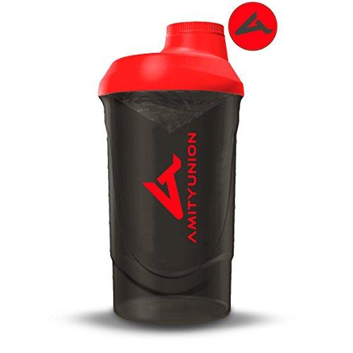 Protein Shaker Proteinshake Deluxe 800 ml - Eiweiß Shaker auslaufsicher, BPA frei mit Sieb & Skala für Cremige Whey Proteinpulver Shakes - Fitness Becher für Isolate, Sport Konzentrate in Schwarz Rot (Roter Smoothie Mixer)