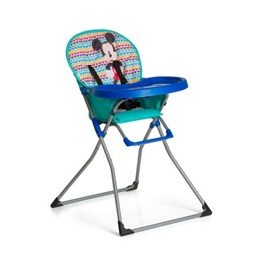 Hauck Mac Baby - Trona alta para bebes a partir de 6 meses a 15 kg, bandeja para comida con molde para vasos, plegado fácil, Mickey Geo Blue (azul)