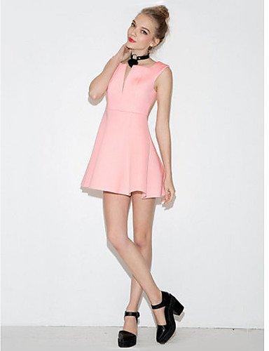 PU&PU Robe Aux femmes Gaine Simple,Couleur Pleine Col en V Au dessus du genou Polyester PINK-M