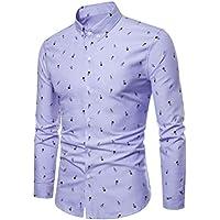 Yvelands Camisa de Corte Slim fit para Hombres Camisa de Manga Larga Casual Hombres Camisa de Negocios para Hombre Estilo de Negocios Diamante