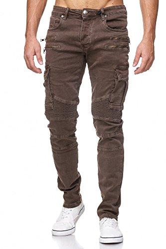 MEGASTYL Herren Biker Jeans Hose Cargo Taschen Stretch-Denim Slim Fit , Farbe:Braun, Größe:W38 / L34 (Stonewashed Denim-stoff)