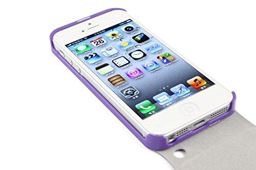 JAMMYLIZARD | Luxuriös Leder Flip Case Klapphülle für iPhone 4 / 4s, Weiß LILA