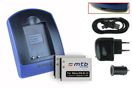 2x Batteria + Caricabatteria (USB/Auto/Corrente) EN-EL12 per Nikon KeyMission 170, 360 / Coolpix A900, AW130, P340, S31, S610c, S8200, S9900 ... - v. lista