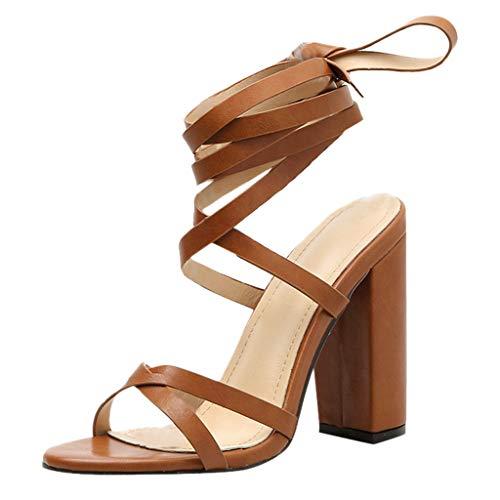 Frauen Sandalen, Sandalen Schnüren Damenschuhe Römische Träger Damenschuhe mit hohem Absatz Sandalen Damen elegant European Ins Style Flip Flops Strandschuhe, LEORTKS
