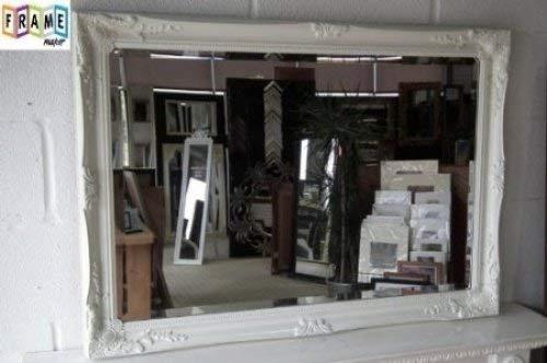 Neu Gerahmt (Frames by Post 3FT6X 2FT6, weiß facettiert, gerahmt Wand Spiegel NEU Schön verziert Design Shabby Chic über Mantel Big Wandspiegel. 76)