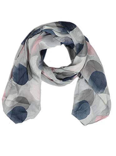 Zwillingsherz Seiden-Tuch mit Punkte Motiv - Hochwertiger Schal für Damen Mädchen - Halstuch - Umschlagstuch - Loop - weicher Schlauchschal für Frühjahr Sommer Herbst und Winter - grau