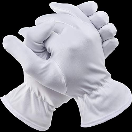 Kostüm Halloween Ein Paare - 3 Paare Halloween Vollfinger Handschuhe Kostüm Zubehör für Halloween Party (Kurz Weiß, Erwachsene Damen)