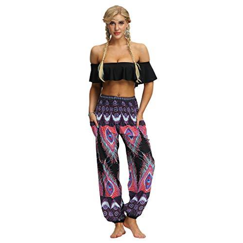 RISTHY Pantalones Anchos Mujer Pantalones Harem Tailandes Hippies Vintage Boho Flores Verano Alta Cintura...