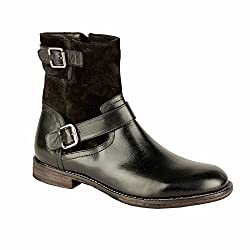 Salt n Pepper 14-319 RAY BLACK 100% GENUINE LEATHER MID ANKLE BOOTS