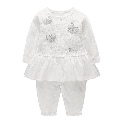 Bambina Pagliaccetto Neonata Tutina con Gonna Cotone Jumpsuit Manica Lunga Body Tuta Infantile Outfits, 0-6 Mesi