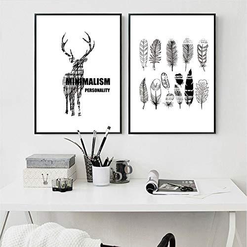 XWArtpic Kreative einfache Bild Poster und Drucke auf Leinwand Wandkunst Bild von Tiere für Wohnzimmer Wohnkultur Linie Hirsch und Federn 40 * 60 cm * 2 stücke