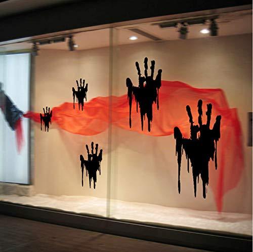 haoxinbaihuo Horror Abziehbild Dekor Neue Abnehmbare Halloween Blut Handabdruck Fenster Wohnzimmer Klassenzimmer Dekoration Halloween ()
