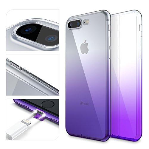 URCOVER Custodia Protettiva Arcobaleno per Apple iPhone 7 Plus   Back Cover Morbida in Silicone TPU   Slim Case Trasparente Ultra Sottile in Lilla