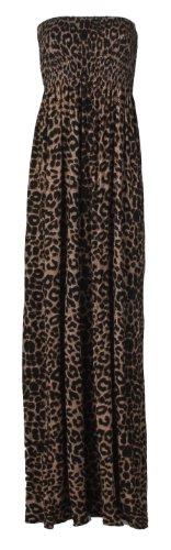 Fast Fashion Damen Leoparden Tribal Zick Zack Print Boobtube Scherung Maxi Kleid (EUR 40/42 - UK (12-14), Leopard/Braun) (Zick-zack-gedruckt Kleid)