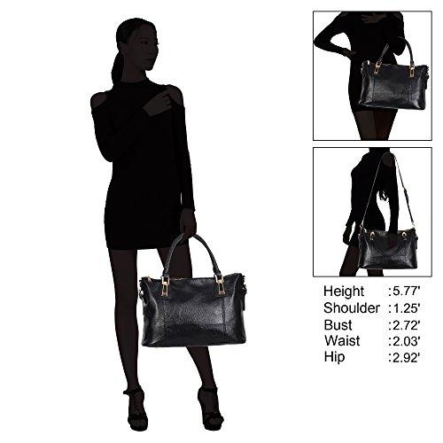 Veevan Damen Große Mode Tote Handtasche Henkeltasche Schultertasche Grau Schwarz