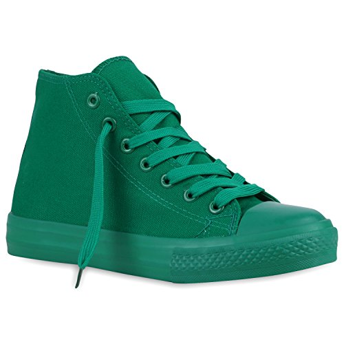 Sportliche Damen Basic Sneakers High Canvas Schuhe Schnürer Grün