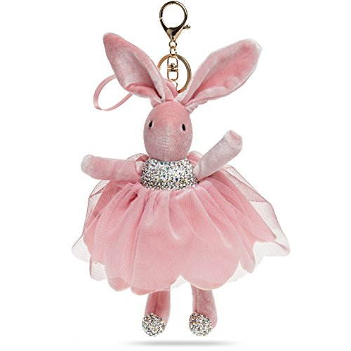 CASPAR AS01 XL Plush Bunny Key Chain Ring Accessory for Handbag Car with Strass