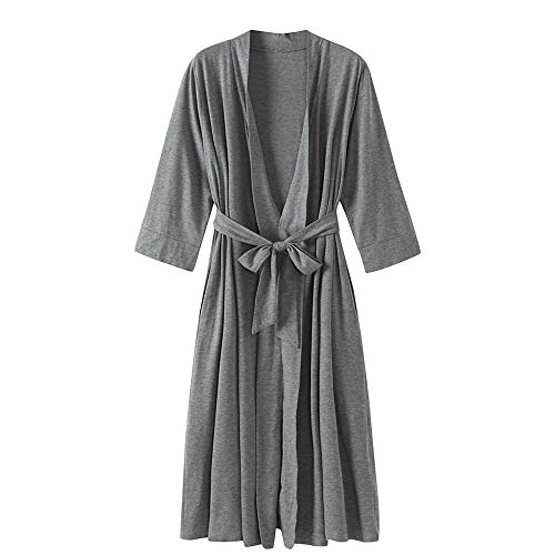 DISCOUNTL Damen Strickjacke, Bademantel mit V-Ausschnitt, Sieben Punkt-Ärmel, lang, Nachthemd, Nachthemd, Damen Bademäntel für Frauen Gr. Small, hellgrau