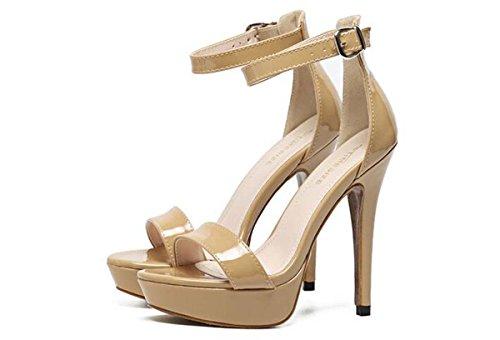 Pumps Europe Open Toe Dimensioni Sandali con plateau tacco a spillo tacco peep-toe Fibbia traspirante estate donne di colore rosa Casal Black shoes 35-40 apricot