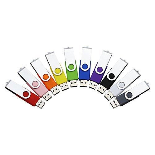 Portworld 16GB & 32GB USB 3.016GB USB 2.0Bulk Flash Drive High Speed Daten Speicher Daumen Pen Drive 10Pack Black Grey White Blue Red Green Pink Purple Yellow Orange USB 2.0 16GB Multicolor -