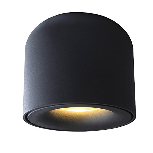 LED Ceiling Mounted spotlight,Surface Mounted Downlight,7W 3000K Warm White can shaped Black Aluminum,ideal accent lighting for Hallway Corridor Gallery display Kitchen and Living room 128B3K7W (Wall-mounted Case Display)