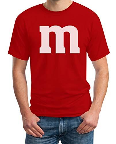 M Und Rotes Kostüm M - Süßes M Outfit Herren Karneval Fasching Gruppen-Kostüme T-Shirt Medium Rot
