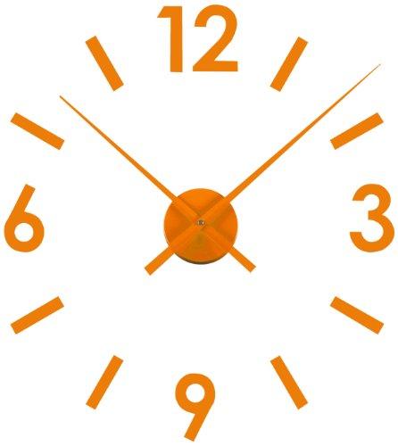 Versa 16660129 - Reloj pegatina de pared, de plástico, color naranja