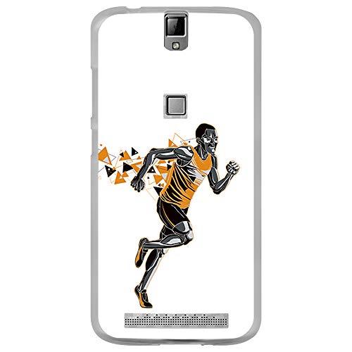 BJJ SHOP Transparent Hülle für [ Elephone P8000 ], Flexible Silikonhülle, Design: Orange Abstrakter Athlet