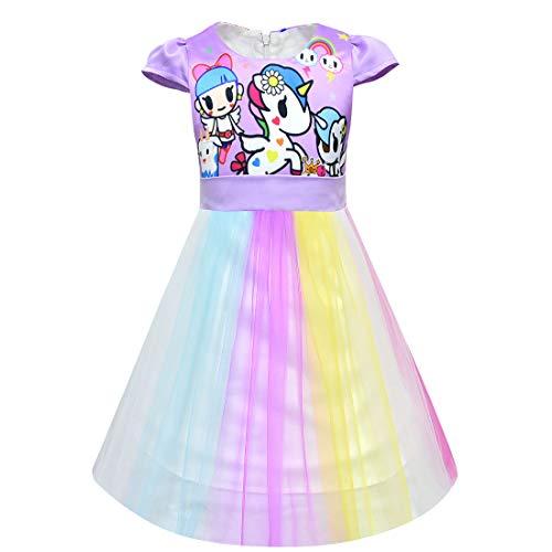 QYS Mädchen Einhorn Kostüm Kleid Prinzessin Blumen Regenbogen Verkleidet Sich Kind Cosplay Hochzeit Party Tutu Sleeveless Fancy (Tee Party Prinzessin Kostüm Kind)