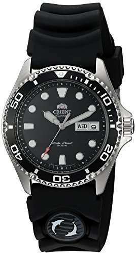 Orient Ray II schwarz Zifferblatt automatische Dive Armbanduhr mit Gummiband Dive aa02007b