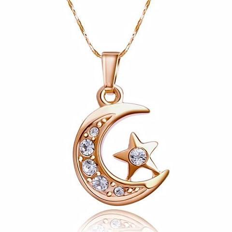 Yoursfs Collier 18k plaqué or Pendentif en Lune et étoile Cristal autrichien pour Femme ou Fille comme Accessoire ou Cadeau