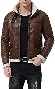 AOWOFS Men's Faux Leather Jacket Brown Motorcycle Bomber Shearling Suede Stand Co