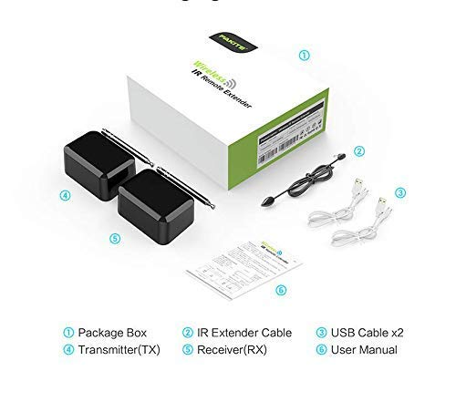PAKITE IR Remote Extender, Infrarot Extender für Erweiterung mit Sender und Empfänger, bis zu 200 m, unterstützt USB Stromversorgung batteriebetrieben