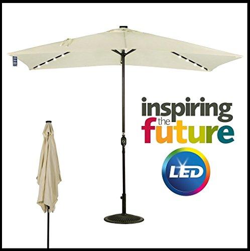 87623 - ombrellone in alluminio da 2x3 mt ecru con 26 luci led a pannelli solari marcata eurolandia srl