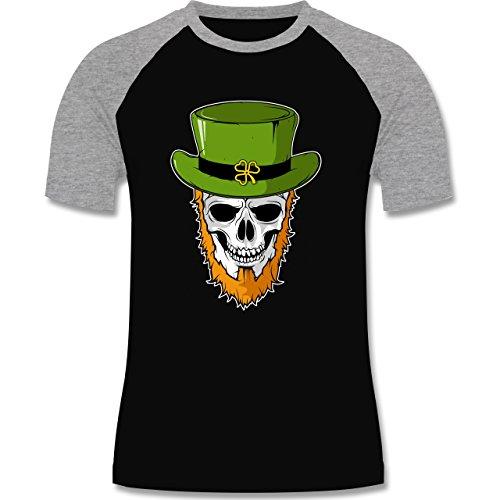 Festival - St. Patricks Day - Totenkopf - zweifarbiges Baseballshirt für Männer Schwarz/Grau Meliert