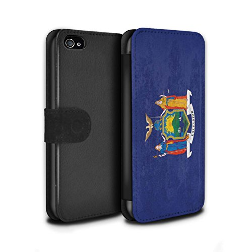 Stuff4® PU-Leder Hülle/Case/Tasche/Cover für Apple iPhone 4/4S / New York Muster/Jahrgang USA-Staat Flagge Kollektion