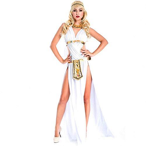 Arabian Kopfbedeckung Kostüm - XSH Halloween Venus Griechische Göttin Kostüm Adult Cosplay Arabian Court Cleopatra Hinten Uniform,Weiß,M