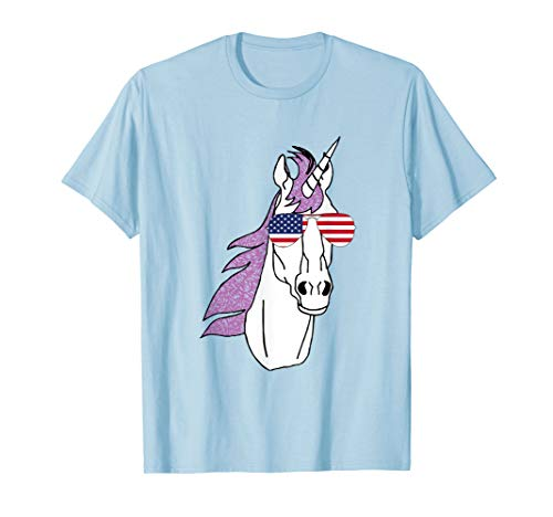 Einhorn mit amerikanischer Flagge USA Flieger-Sonnenbrille T-Shirt