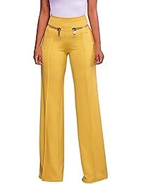 5ea8bbe8ab Guiran Mujer Elasticidad Cremallera Cintura Alta Ancho Fiesta Acampanados Pantalones  Pantalon Palazzo Amarillo S