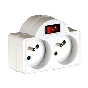 Perel EB2SW Adaptateur de Prise avec interrupteur 2 prises