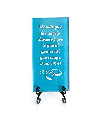 Lifeforce Glass He Will Give His Angels Charge of You inspirierendes Glasschild Vers mit Aufschrift Reassuring Scripture für den Schreibtisch oder EIN sehr bedeutsames Geschenk, Dunkles Blaugrün.