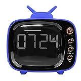 Kafuty Accueil Radio en Forme de Bluetooth Regarder la télévision Réveil Audio Double Haut-Parleur sans Fil Haute qualité Portable Haut-Parleur Bluetooth Radio rétro(Bleu)